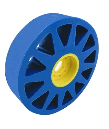 """Picture of 100mm Flex Wheel - 50A - 25mm wide - 1/2"""" Inner Hex - Blue"""