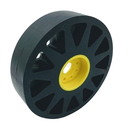 """Picture of 100mm Flex Wheel - 60A - 25mm wide - 1/2"""" Inner Hex - Black"""
