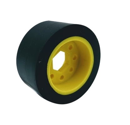 """Picture of 50mm Drive Wheel - 60A - 25mm wide - 1/2"""" Inner Hex - Black"""