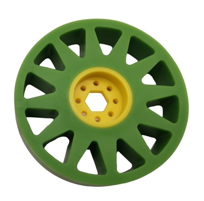 """Picture of 100mm Flex Wheel - 35A - 25mm wide - 1/2"""" Inner Hex - Green"""