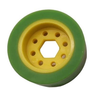 """Picture of 50mm Drive Wheel - 35A - 25mm wide - 1/2"""" Inner Hex - Green"""